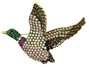 Multicolor Crystal Antiqued Gold Tone Mallard Duck Brooch