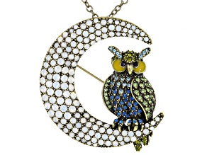 Multicolor Crystal Multicolor Enamel Antiqued Gold Tone Owl Pin/Pendant With Chain