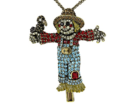 Multicolor Crystal Yellow Enamel Antiqued Gold Tone Scarecrow Pin/Pendant With Chain