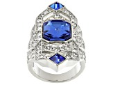 White And Blue Crystal Silver Tone Deco Ring
