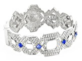 White And Blue Crystal Silver Tone Deco Bracelet