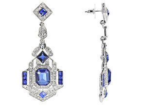 White Crystal Blue Crystal Silver Tone Deco Earrings