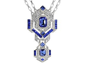 White Crystal Blue Crystal Silver Tone Deco Necklace