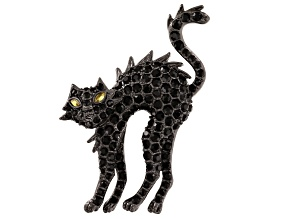 Multicolor Crystal Gunmetal Tone Black Cat Brooch