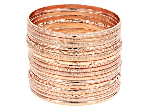 Rose Tone Bangle Set Of 17