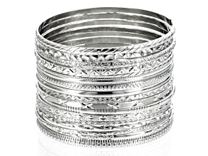 Silver Tone Bangle Set Of 17