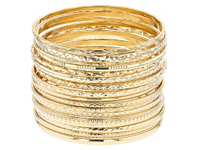 Gold Tone Bangle Set Of 17