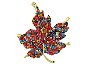 Multicolor Crystal Antiqued Gold Tone Lead Brooch