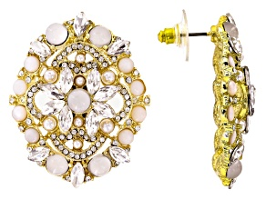 White Crystal Pearl Simulant Moonstone Simulant Gold Tone Earrings