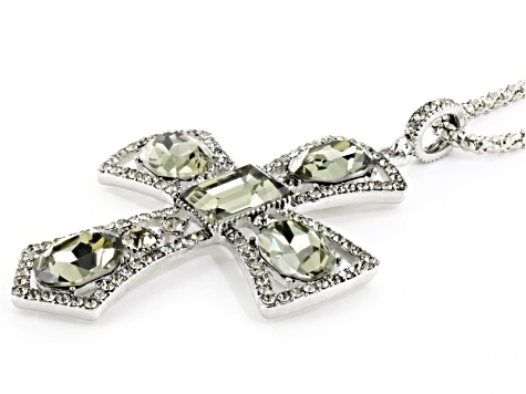 Gray Crystal Silver Tone Cross Pendant With Chain