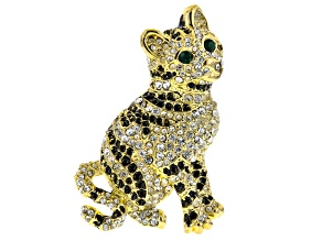 White And Green Crystal Black Enamel Gold Tone Cat Brooch