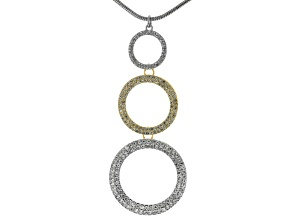 White Crystal Gold Tone Silver Tone Circle Necklace