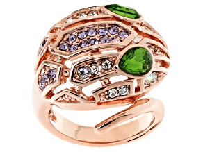 Multicolor Crystal Rose Tone Snake Ring