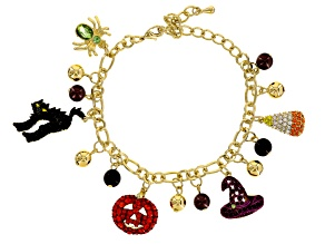 Multicolor Crystal Gold Tone Halloween Charm Bracelet