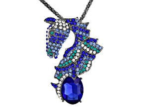 Multicolor Crystal Antiqued Silver Tone Horse Pendant With Chain