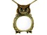Multicolor Crystal Antiqued Gold Tone Owl Magnifying Glass Necklace