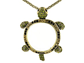 Multicolor Crystal Antiqued Gold Tone Turtle Magnifying Glass Necklace