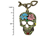 Multicolor Crystal Multicolor Enamel Antiqued Gold Tone Day Of The Dead Charm Necklace