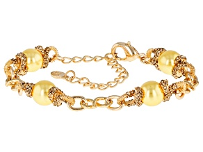 Champagne Crystal Golden Pearl Simulant Gold Tone Bracelet