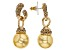 Champagne Crystal Golden Pearl Simulant Gold Tone Dangle Earrings