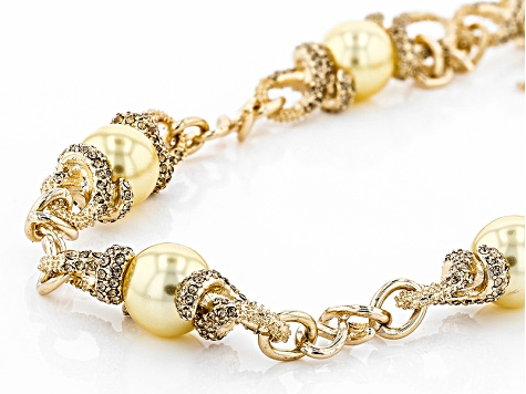 Champange Crystal Golden Pearl Simulant Gold Tone Necklace