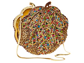 Multicolor Crystal Gold Tone Clutch