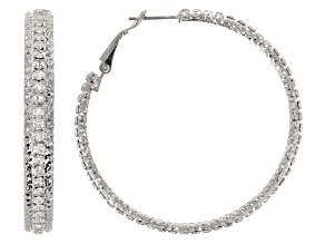Womens Round White Crystal Solid Silver Tone Omega Hoop Earrings