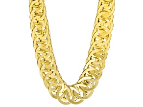 Womens Graduated interlocking Textured Circles Link Necklace Gold Tone