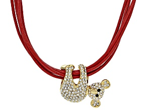 White And Black Crystal Gold Tone Red Cord Koala Necklace