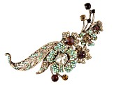 Off Park ® Collection, Multi Color Crystal Gold Tone Floral Brooch & Pendant