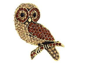 Champagne And Brown Crystal Antiqued Gold Tone Owl Brooch