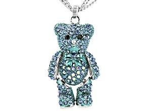 Crystal Silver Tone Teddy Bear Pendant