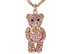 Pink Crystal Rose Tone Teddy Bear Pendant With Chain