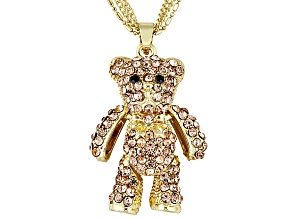 Off Park ® Collection Black & Peach Crystal Gold Tone Teddy Bear Pendant & 18