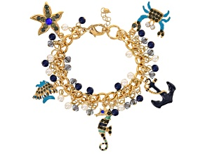 Off Park ® Gold Tone Multicolor Crystal, Resin & Pearl Simulant, Enameled Sea Life Charm Bracelet