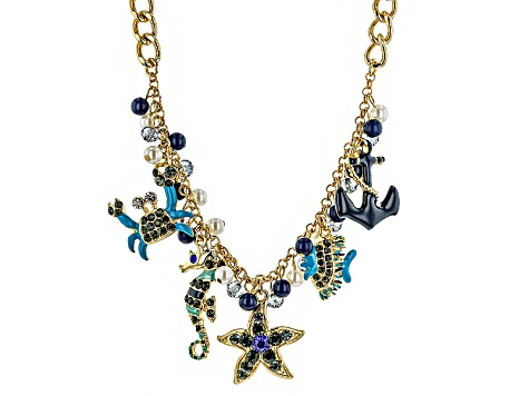 Gold Tone Multicolor Crystal Resin And Pearl Simulant Enameled Sea Life Charm Necklace