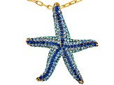Blue Crystal Gold Tone Starfish Pendant With Chain.