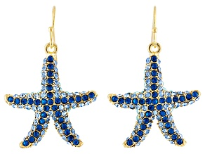 Blue crystal gold tone starfish earrings