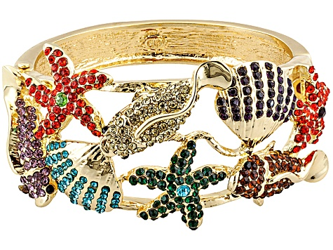Multi-Color Crystal Gold Tone Underwater Sea Life Bangle Bracelet