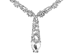 White Crystal Floral Design Drop Necklace.