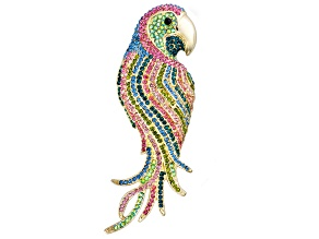 Multicolor Crystal Gold Tone Parrot Pendant Brooch