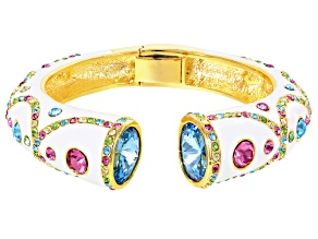 Multicolor Crystal Gold Tone Bangle Cuff
