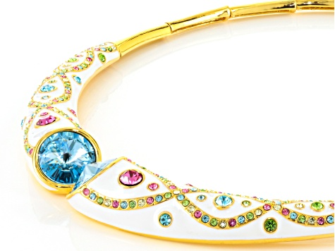 Multicolor Crystal White Enamel Gold Tone Necklace