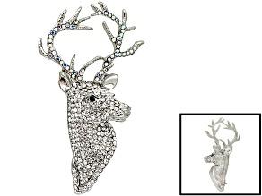 Crystal Silver Tone Deer Brooch