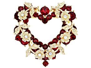 Red And Iridescent Crystal Heart Brooch.
