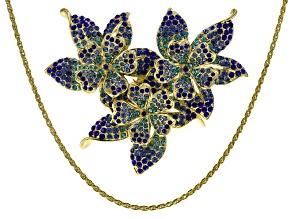 Blue Ombre Crystal Gold Tone Flower Brooch/Pendant With Chain.