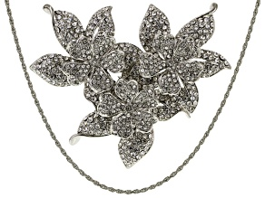 White Crystal Silver Tone Flower Brooch/Pendant With Chain.
