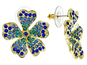 Blue Ombre Crystal Gold Tone Flower Earrings.