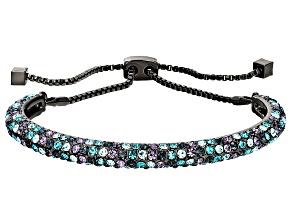 Multicolor Crystal Gunmetal Tone Sliding Adjustable Bracelet