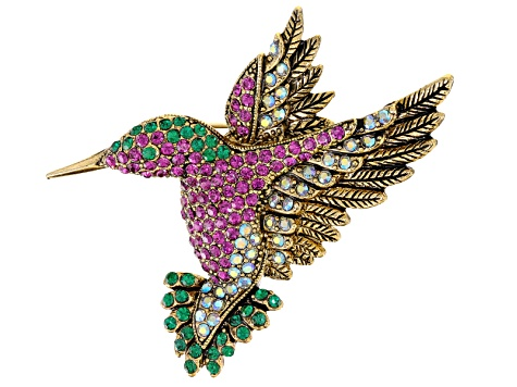 Pink, Green And White Swarovski Elements ™, Antiqued Gold Tone Hummingbird  Brooch Pendant